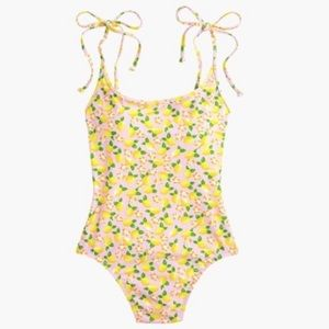 J. Crew Shoulder-tie OnePiece Swimsuit Lemon Print